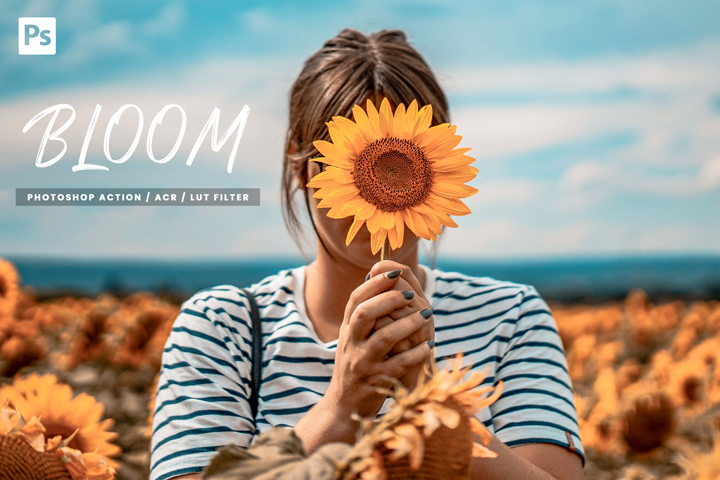 10 Bloom Photoshop Action, Lut Filter, Acr Presets, lifestyle vibrant and bright Instagram theme for Photo editing, warm outdoor style