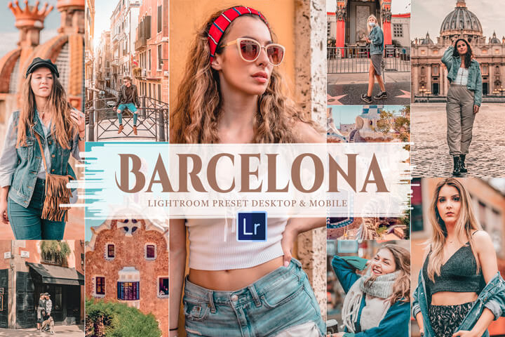 10 Barcelona Mobile & Lightroom Presets, warm bright and orang tone for Instagram influencer, incredible and evoke theme lifestyle photography filter