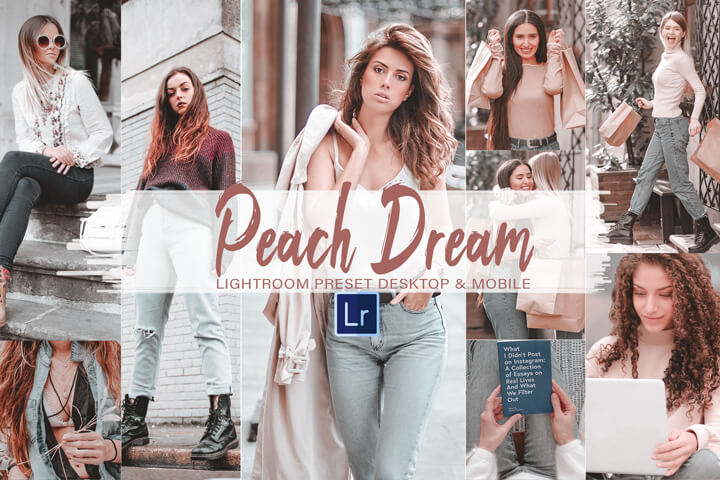 8 Dream Peach Mobile and Desktop Lightroom Presets, editing bright pink photo filter and orange color for Instagram bloggers and influencers Photoshop, Action, Lut Filter, Acr Presets