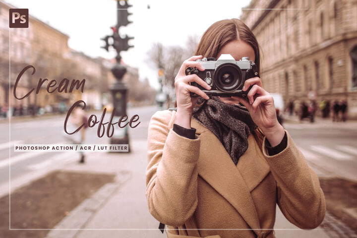 7 Cream Coffee Photoshop, Action, Lut Filter, Acr Presets, caramel milky theme, lifestyle blogger for photography Instagram, vibrant tone