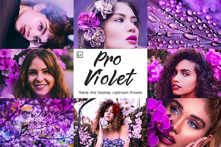 Pro Violet Lightroom Presets Lightroom Mobile Presets Photoshop Action