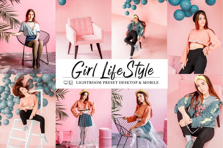 10 Mobile & Lightroom Presets Girl Lifestyle, pink vintage fashion Blogger, soft purple tone influencer Instagram Filter Photography Theme