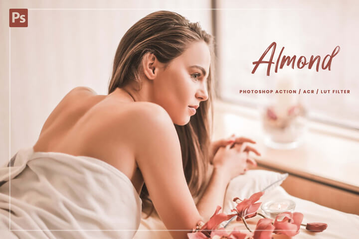 10 Almond Photoshop, Action, Lut Filter, Acr Presets, Warm Light Photo Editing Filter For Instagram Blogger, Easy To Use, nude skin theme