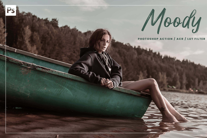 Title: 10 Moody Photoshop Action, Luts Filter, Acr Presets, dark rich cinematic professional theme, vibrance lifestyle for Instagram blogger