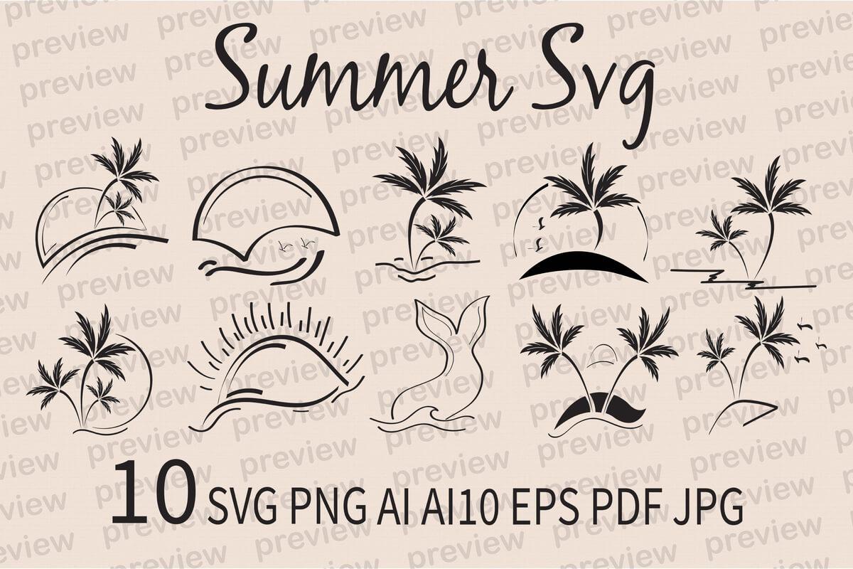 10 Summer SVG Bundle Beach Circuit svg Palm Silhouette svg files for Cricut svg Cut Files dxf file for laser Cut file Vector Clipart SVG PNG