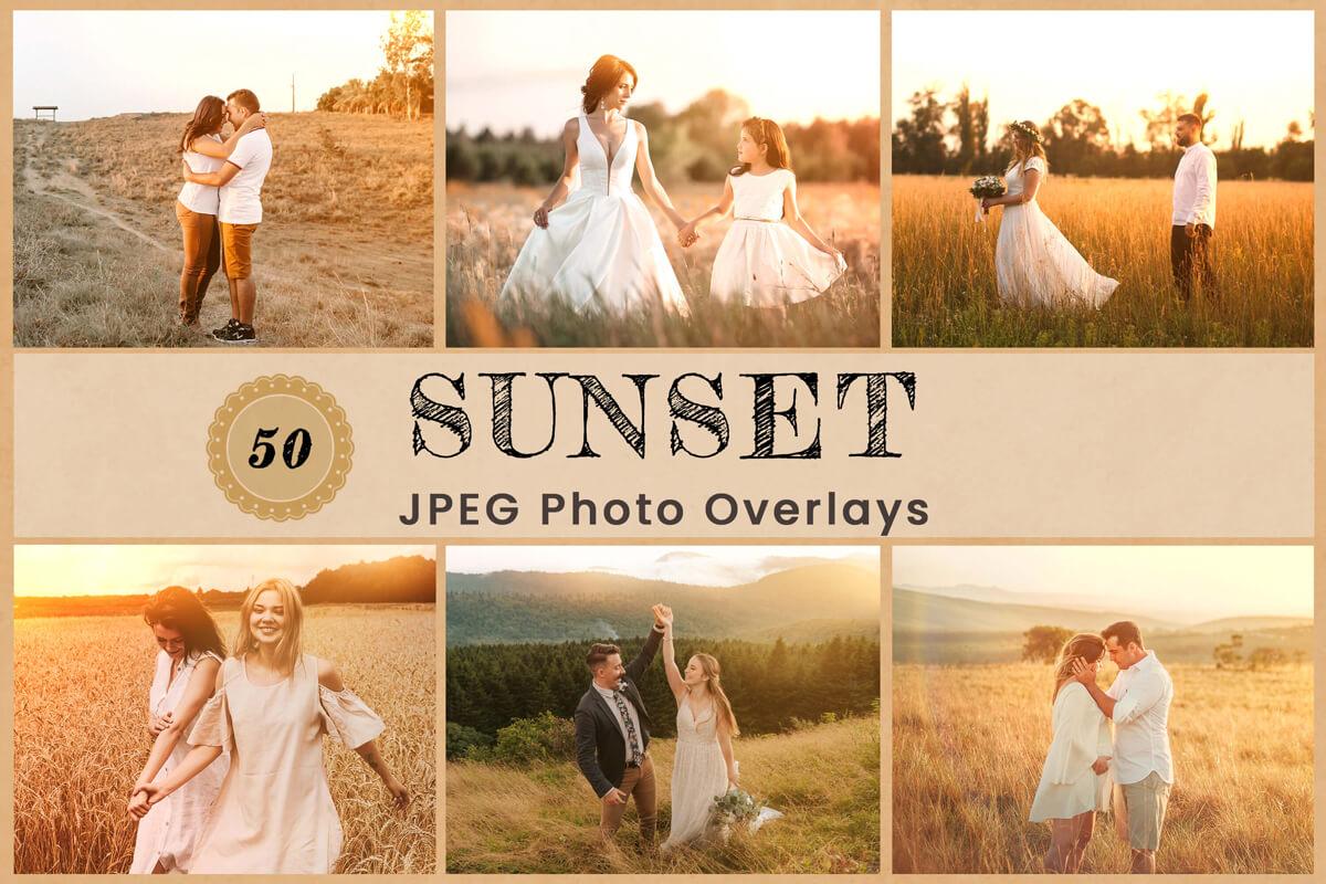 50 Sunset Photo Overlay Sunlight Photoshop Lens overlays Natural Real Light Bokeh Overlay Sun flares Overlay Light Leak lens flare Overlay