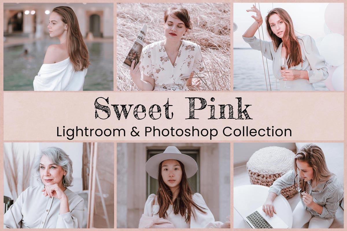 10 Sweet Pink Lightroom Presets Lightroom Mobile Presets Photoshop Actions ACR Presets Trendy Bright Filter Soft Pink Tones Blogger Presets