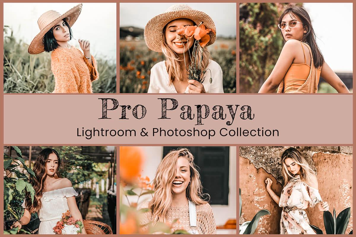 15 Pro Papaya Lightroom Preset Mobile Presets Desktop Photoshop Action ACR Preset Summer Preset Tropical Preset for Instagram Blogger Preset