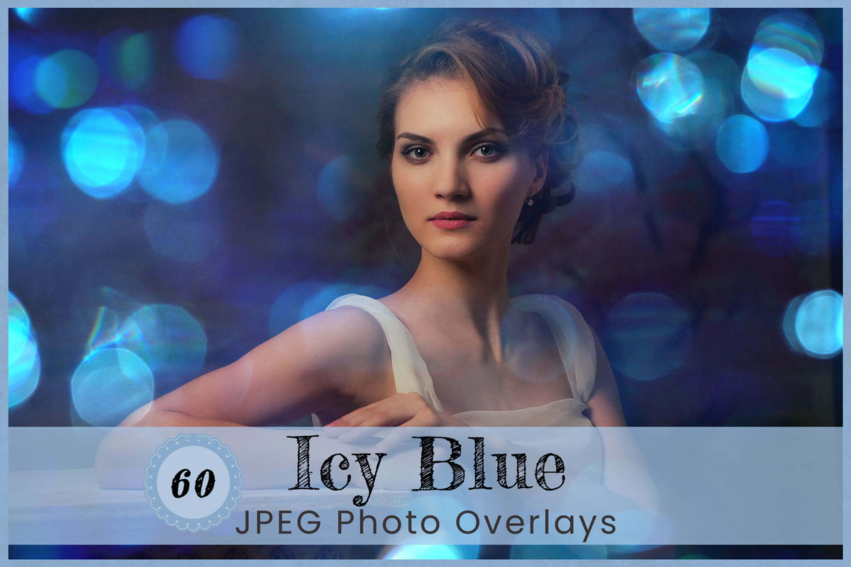 Icy Blue Digital Overlays Backdrops Background Photography Natural Light leak Photo Editing Bokeh Photoshop Overlays Nature Digital Download
