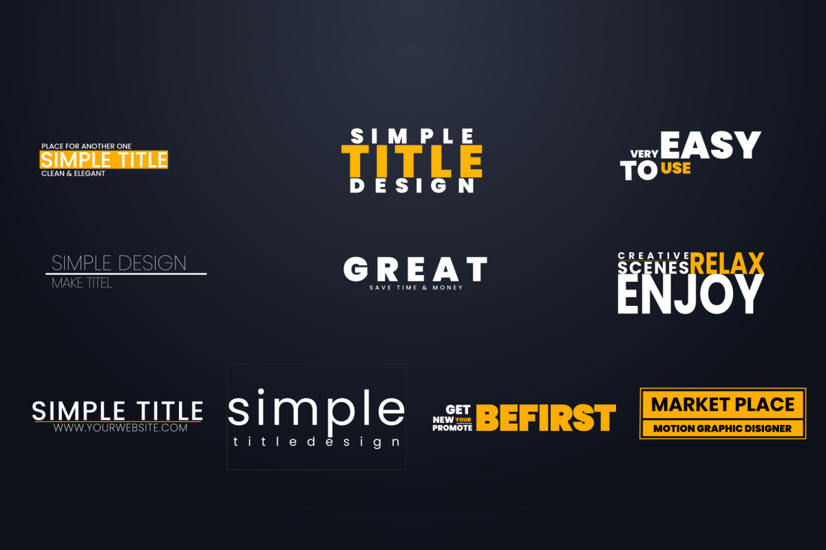 After effects Template Minimal Title I