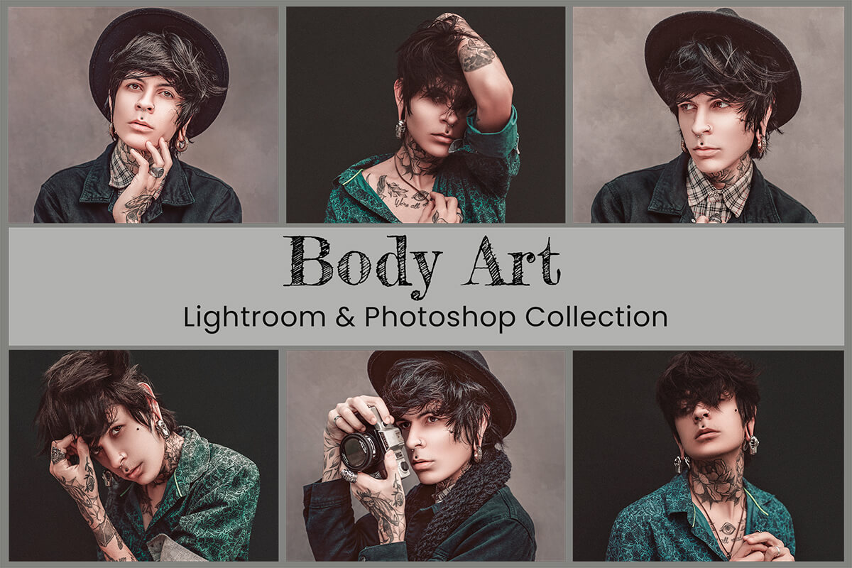 Body Art Lightroom Mobile Presets Photoshop Filters Instagram Fashion Blogger Influencer Tattoo Mood Ink Skin Photography Actions Video LUTs