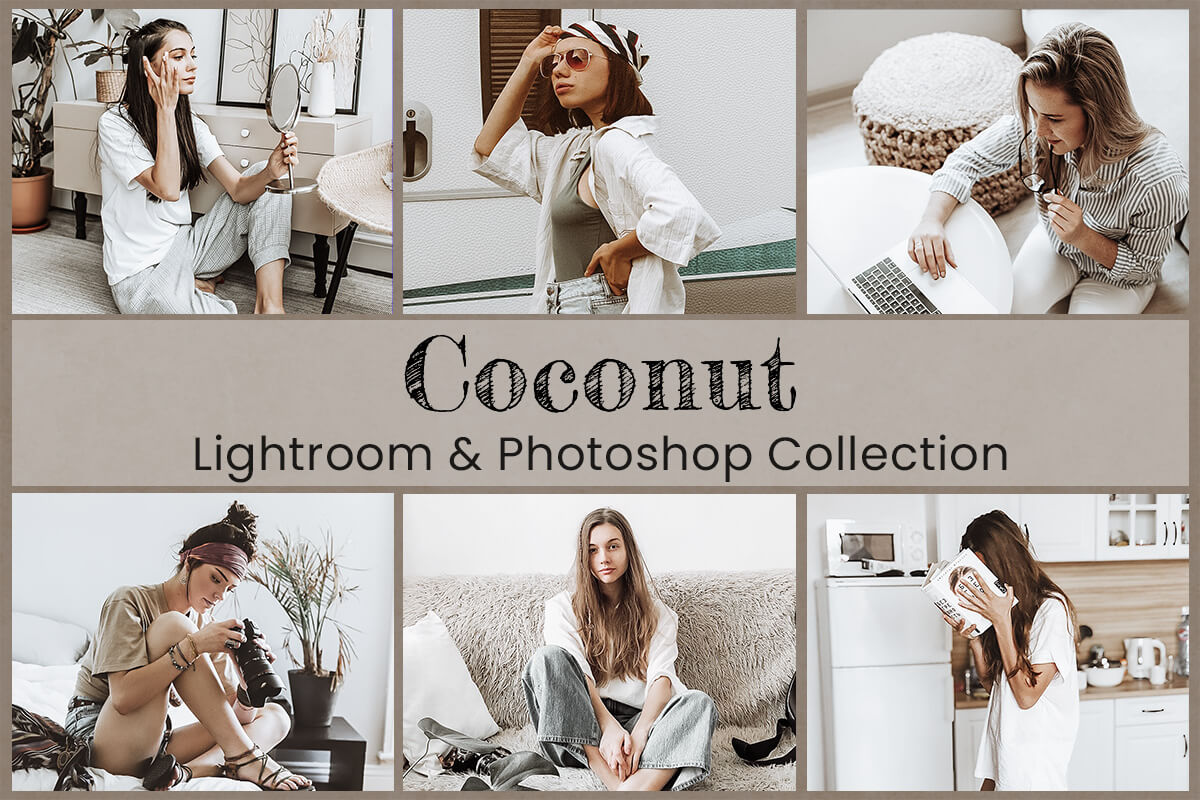 Coconut Lightroom Mobile Presets Photoshop Filters Instagram Warm Natural Bright White Cacao Dark Black Brown Tanned Skin Photography LUTs