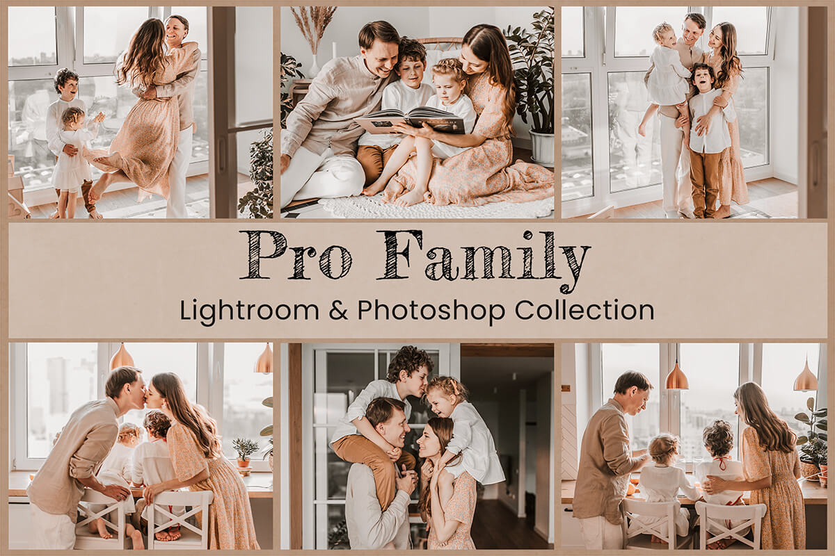 Family Lightroom Mobile Presets Photoshop Filters Instagram Blogger Desktop Bright Clean Creamy Lifestyle Children Holiday Photography LUTs