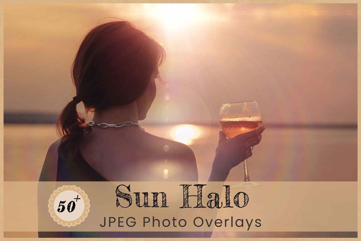 Sun Halo Digital Overlays Backdrops Backgrounds Photoshop Editing Lens Flare Glow Crystal Sunlight leak Magic Rainbow Wedding Photography