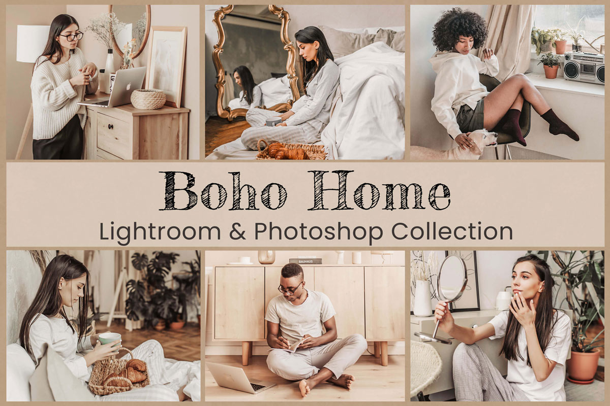 Boho Home Lightroom Mobile Presets Photoshop Filters LUTs Instagram VSCO Bright Indoor Warm Brown Cozy Bohemian Lifestyle Nature Photography