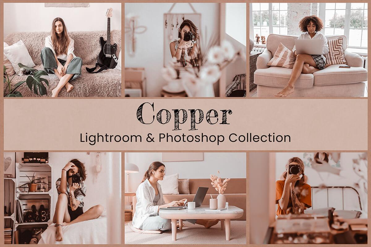 Copper Lightroom Mobile Presets Photoshop Instagram LUT Filter Fashion Blogger Holiday Blush Beige Golden Bright Family Lifestyle influencer