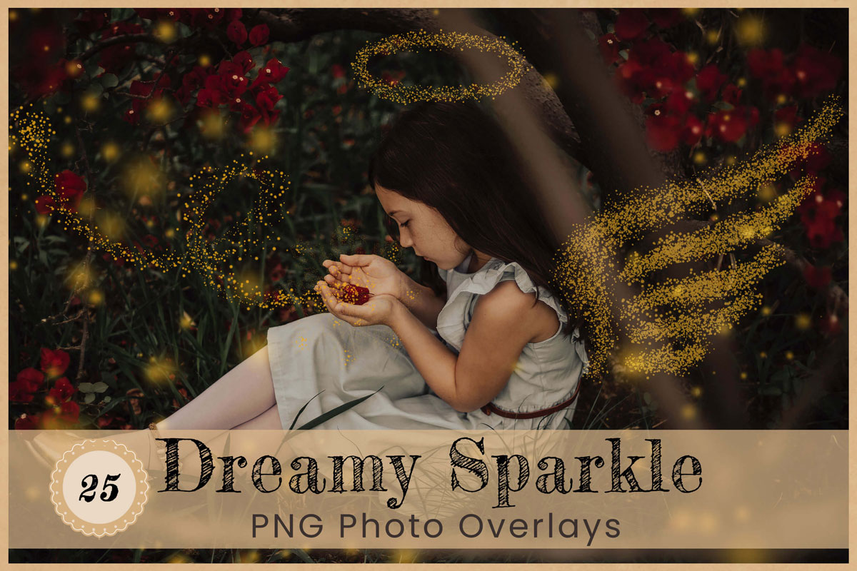 Dreamy Sparkle Digital Overlay Backdrop Backgrounds Photoshop Png Golden Glitter wings Magic wand fairy lights Dust Particles Glowing String
